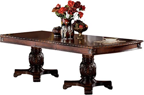 - Acme Chateau De Ville Dining Table with Double Pedestal in Cherry