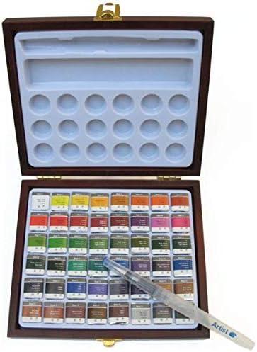 ARTIST Wingo Acuarela Caja DE Madera 48 Pastillas + Pincel RELLENABLE + Paleta: Amazon.es: Juguetes y juegos