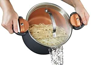 Gotham Steel Pasta Pot with Patented Built in Strainer with Twist N' Lock Handles 4 Quart Gray