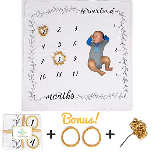 Baby Monthly Milestone Blanket | Newborn & Infant Photo Props Backdrop | 100% Premium Soft Cotton Blanket for Boys & Girls 0-3,3-6,6-9,9-12 Months | Two Bonus Floral Wreaths | Baby Shower Gift