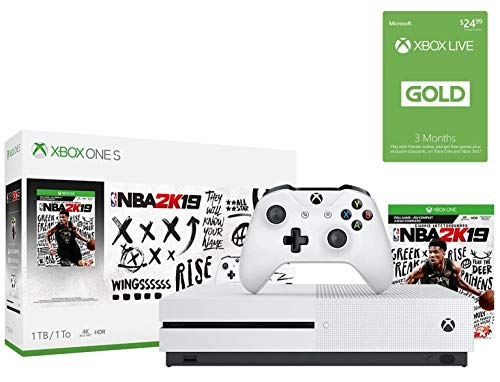 Xbox One S 1TB NBA 2K19 w/Xbox Live 3-Month Gold Membership Bonus Bundle: Xbox One S 1TB Console, NBA 2K19 Game, Xbox Live 3-Month Gold Card, Xbox Wireless Controller, Choose Your Favorite Game