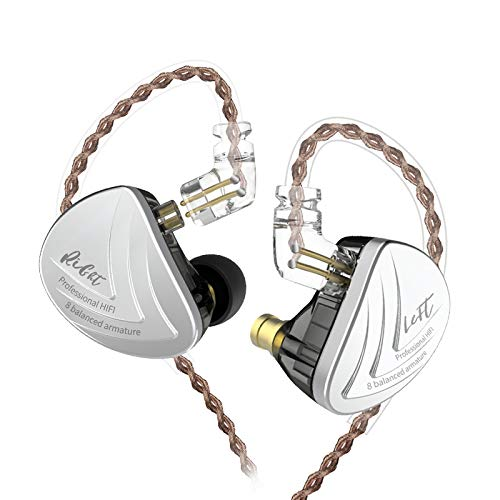 KZ AS16 16 Units Earbuds Balanced Armature Headphones Noise Reduction Extra Bass Sports in Ear Earphone No Mic, Black