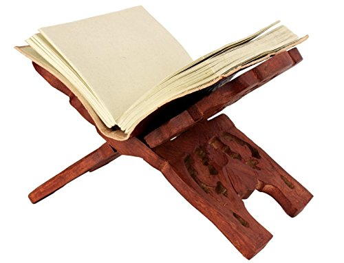 - Valentines Day Handcraft Wooden Book Holder Display Stand Folding Religious Prayer Free Reading Stand with Intricate Carvings (Brown 2)