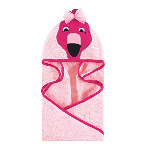 Hudson Baby Unisex Baby Animal Face Hooded Towel, Flamingo 1-Pack, One Size