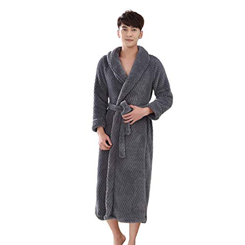 Yifen Unisex Solid Color Shawl Collar Plush Fleece Bathrobe Dressing Gown with Waist Belt and Two Side Pockets (Grey, ()