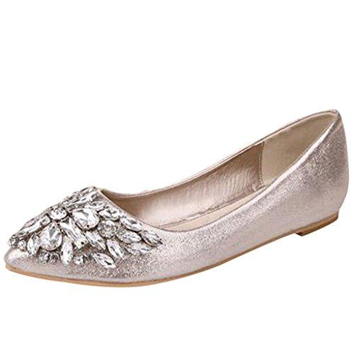 Binying Mashiaoyi Womens Diamante Bocca Piatta Pompe Piatte Oro