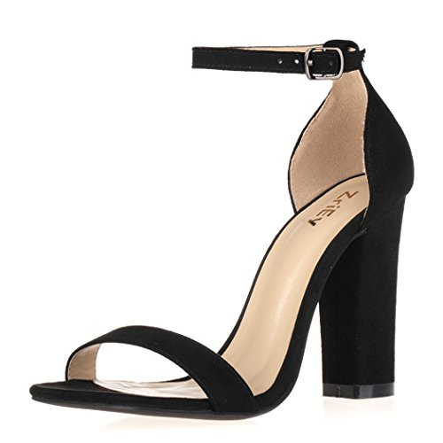 ZriEy Women's Ladies Fashion Strappy High Heel Sandals Ankle Strap Cuff Peep Sexy Toe Shoes Velvet Black size 9, EU 40