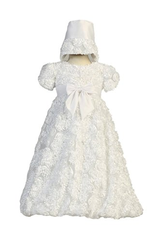 Dress Christening Tulle Satin (Long White Ribbon Clusters on Tulle Baby Girl Christening Baptism Special Occasion Newborn Dress Gown with Matching Hat - XS (0-3 Month, 0-8 lbs))