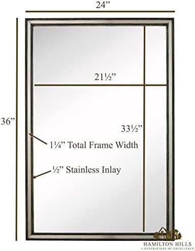 Hamilton Hills Large Metal Inlaid Wood Frame Wall Mirror Glass Panel Silver Stainless in Pewter Gray Vanity, Bedroom, or Bathroom Mirrored Rectangle Hangs Horizontal or Vertical 24 x 36