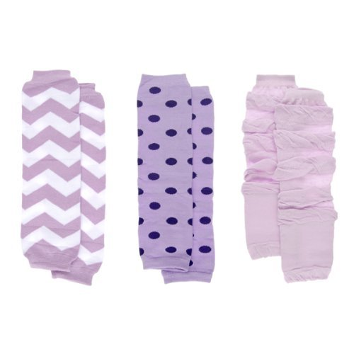 Baby Girl Leg Warmers Set - Purple Chevron and Polka Dot Set of 3