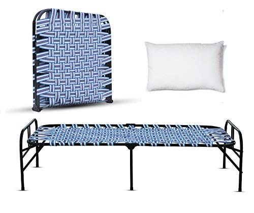 LUSTER Reinforced Metal Frame Powder Coatings Single Folding Bed with Headboard, 3 Support in Middle Mattress Base, Metal Tube and Antique Set-Tool Free Easy Assemble (Random Color)