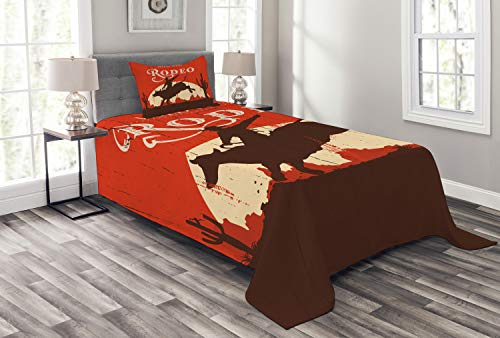 Ambesonne Vintage Bedspread, Rodeo Cowboy Riding Bull Wooden Old Sign Western Style Wilderness at Sunset Image, Decorative Quilted 2 Piece Coverlet Set with Pillow Sham, Twin Size, Orange Brown ()