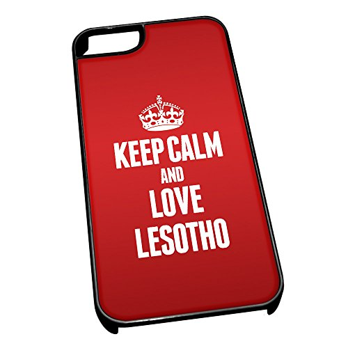 Nero cover per iPhone 5/5S 2226 Red Keep Calm and Love Lesotho