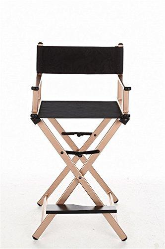 Horly Lightweight Chair Portable Director Chair Aluminum Frame Black Canvas Outdoor Furniture Folding Chair Indoor Makeup