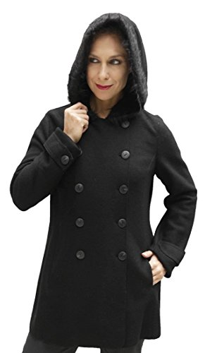 Fine Wool Outerwear - Women's Superfine Woven Hooded Alpaca Wool Coat Faux Fur Accent Hood (XLarge, Black)