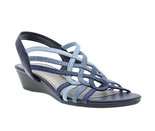 Roma Stretch Wedge Sandal, Indigo Stretch Elastic/Calfeline, 8 B(M) US