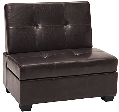 Epic Furnishings Butler Microfiber Upholstered Tufted Padded Hinged Storage Ottoman Bench, 24
