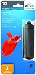 Elive 10W Micro Heater, 3 Gallon, Fully Submersible, Small Aquarium, Fish Tank, Fish Bowl, with Suction Cups
