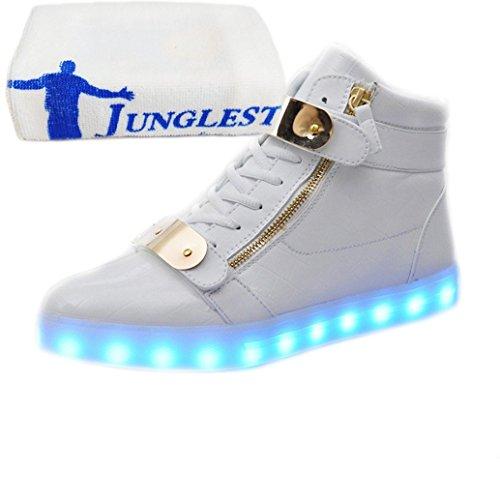 [Present:kleines Handtuch]JUNGLEST® (TM) 7 Farbe USB Aufladen LED Leuchtend Sport Schuhe Sportschuhe Sneaker Turnschuhe für Unise Weiß Lackleder High-Top