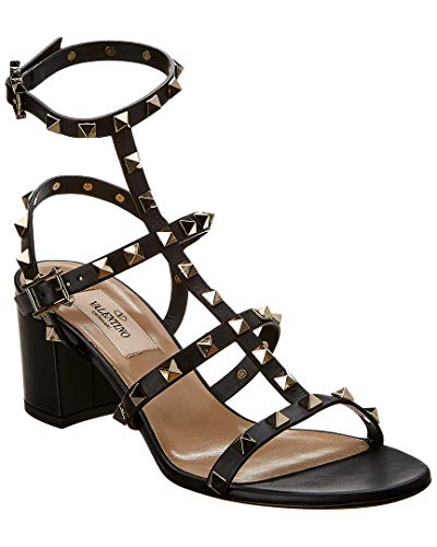 Used, VALENTINO Cage Rockstud 60 Leather Sandal, 37.5, Black for sale  Delivered anywhere in USA