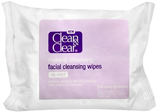 Clean & Clear Makeup Dissolving  Facial Cleansing Wipes, 25 Wipes Packages (Pack of 3)