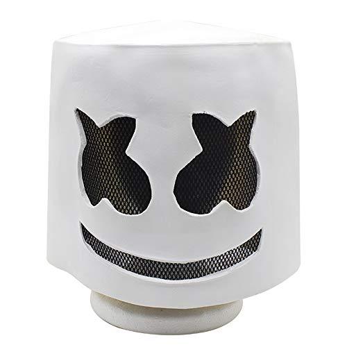 XJ-AM DJ Marshmello Mask Full Face Cosplay Costume Carnaval Halloween Prop Latex Masks Headdress Accessories