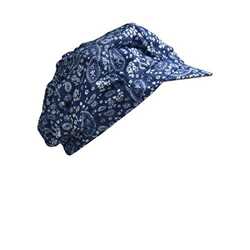 Dark Blue Denim Jeans Ladies Spring Summer Cap with Paisley Floral Pattern