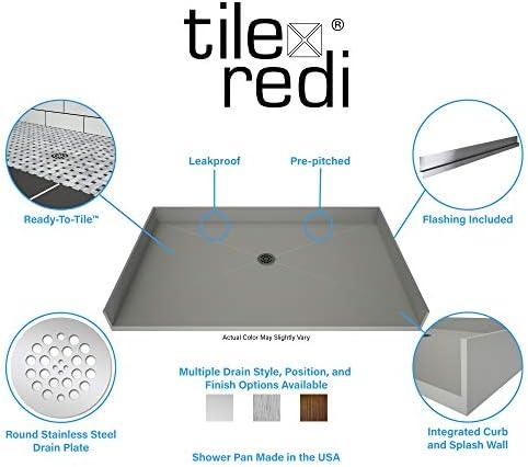 Tile Redi USA B3354R-BFRDPVZ Redi Free Shower Pan, 54 W x 33 D, Polished Chrome