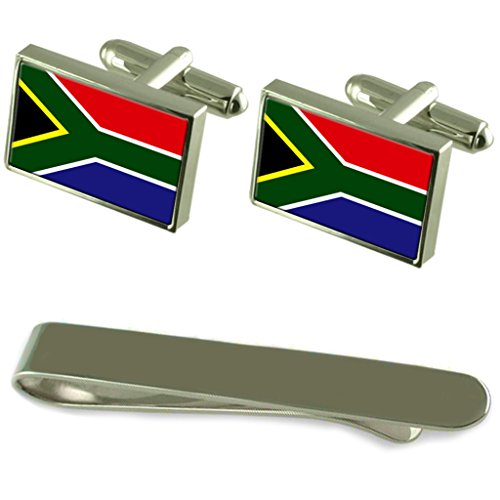 South Africa Flag Silver Cufflinks Tie Clip Engraved Gift Set by Select Gifts