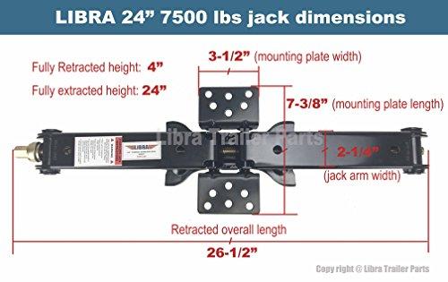 Libra Set of 2 7500 lb Heavy Duty 24'' RV Trailer Stabilizer Leveling Scissor Jacks w/handle & Dual Power Drill Sockets & hardware -Model# 26037 … by Libra (Image #4)