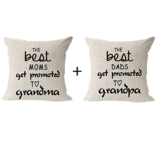 Set of 2 Best Blessing Gift to Parents The Best Mom Dad Get Promoted to Grandma Grandpa Cotton Linen Square Throw Waist Pillow Case Decorative Cushion Cover Pillowcase Sofa 18