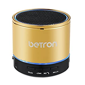 Betron KBS08 Wireless Portable Speaker Compatible with Smartphones Tablets Mp3 Players, Gold