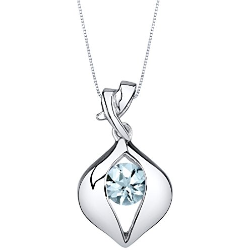 (Aquamarine Sterling Silver Venus Pendant Necklace)