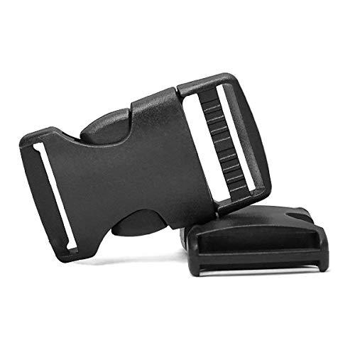 RETON 50 PCS 20mm Wide Black Adjustable Buckles Plastic Side Release Buckles