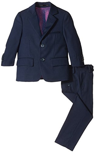 Isaac Mizrahi Boys' Little Slim 2 Piece Cut Wool Blend Suit, Navy, 7]()