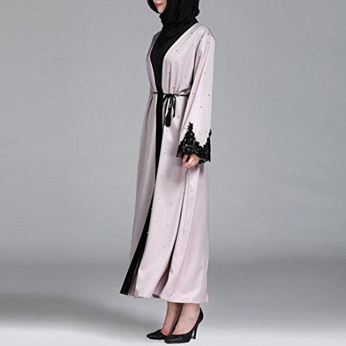 Islamic Muslim Women Full Sleeve Clothing Lace Splicing Long Coat Middle East Long Robe (M) by Conina (Image #3)