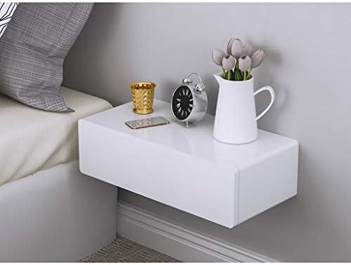 壁掛け式化粧台 シングル引き出し フレイティングベッドサイドテーブル 組み合わせることができます テレビ棚 化粧品キャビネット リビングルームの寝室に適しています (Color : White, Size : 45cm)