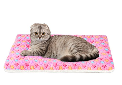Mora Pets Ultra Soft Pet (Dog/Cat) Bed Mat with Cute Prints | Reversible Fleece Dog Crate Kennel Pad | Machine Washable Pet Bed Liner (X-Small, Pink) ()