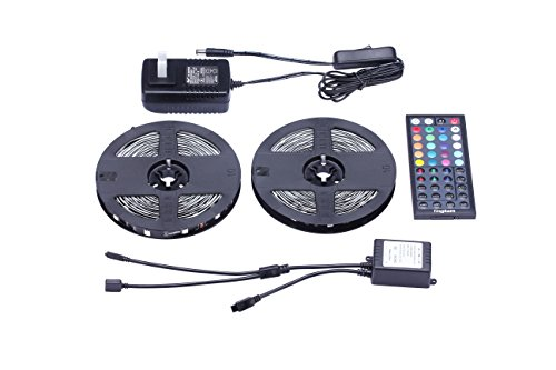 Tingkam Led Strip Lights Kit 32.8 Ft (10m) 300leds Non-Waterproof 5050 SMD RGB LED Flexible Lights with 44key ir Controller and Power Supply for Home,Kitchen,Sitting Room and Bedroom Decoration.