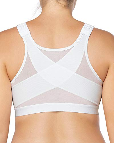 Leonisa Back Support Posture Corrector Wireless Bra Adjustable Front Closure White
