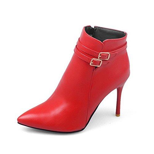 BalaMasa Womens Studded Rhinestones Metal Buckles Stiletto Imitated Leather Boots Red