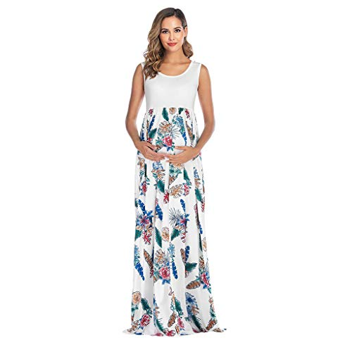 Women Pregnant Tank Dress Sleeveless Patchwork High Waist Maxi Dress Floral Printed Maternity T Shirt Dresses by Lowprofile
