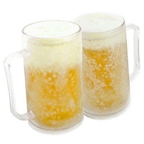 Bierkrug zum Einfrieren: Frozen Mug Eisbecher Eiskrug Kühlbecher 0,4 Liter 400 ml Trinkglas mit Kühlakku