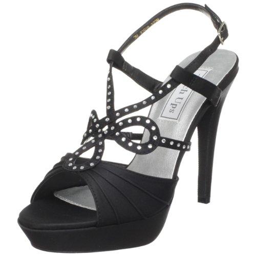 Touch Ups Women's Lonnie Leather Platform Sandal,Black Satin,7.5 M US