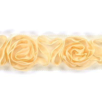 American Crafts 1-1//2-Inch Rose Ribbon 1-Yard Spool White