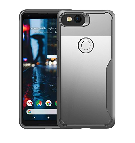 Price comparison product image Google Pixel 2 XL Case,  Lisuixi [ Transparent Back Cover+Soft Rubber Bumper ] Premium Clear Back Cover and Silicone Bumper Frame Shock Absorption Anti-Scratch Hybrid Cover for Google Pixel 2 XL Gray