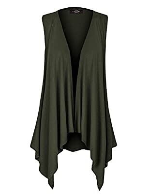 MBJ Womens Lightweight Sleeveless Draped Open Cardigan - Made in USA