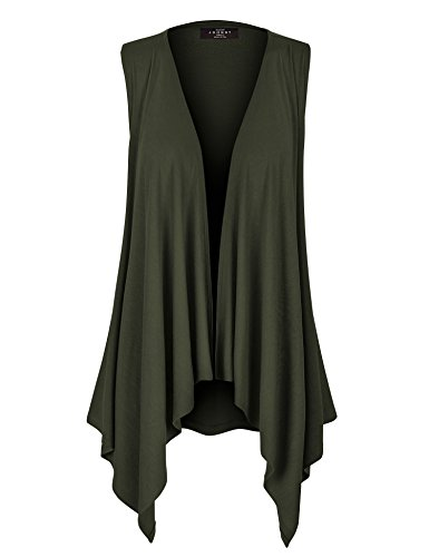 - WSK1071 Womens Lightweight Sleeveless Draped Open Cardigan XXL Olive