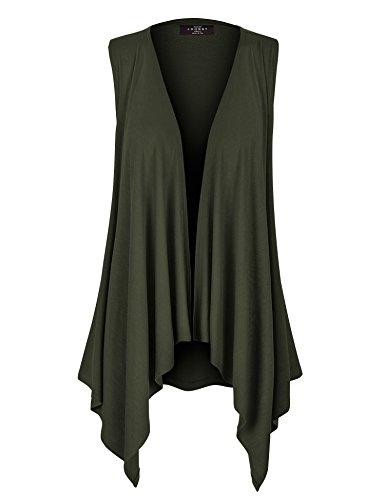 WSK1071 Womens Lightweight Sleeveless Draped Open Cardigan XL Olive