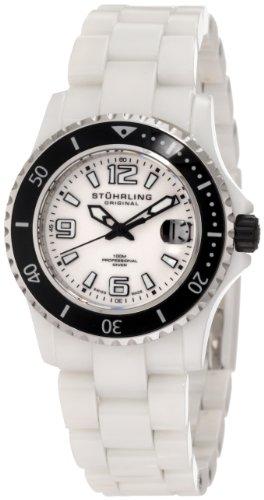 Stuhrling Original Women's 272.11EP3 Leisure Ceramic Belladonna Swiss Quartz Professional Diver Two-Tone Ceramic Watch